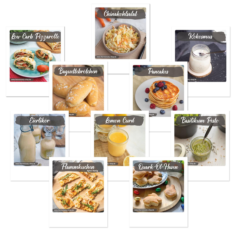 10x Rezeptkarten, Thema: Lieblingsrezepte Nr. 2 im Polaroid-Format inkl. Holz-Kartenständer