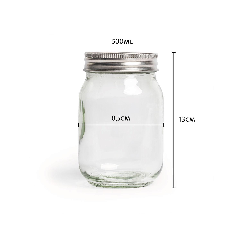 Overnight-Gläser mit Verschluss 500ml, 6er-Set