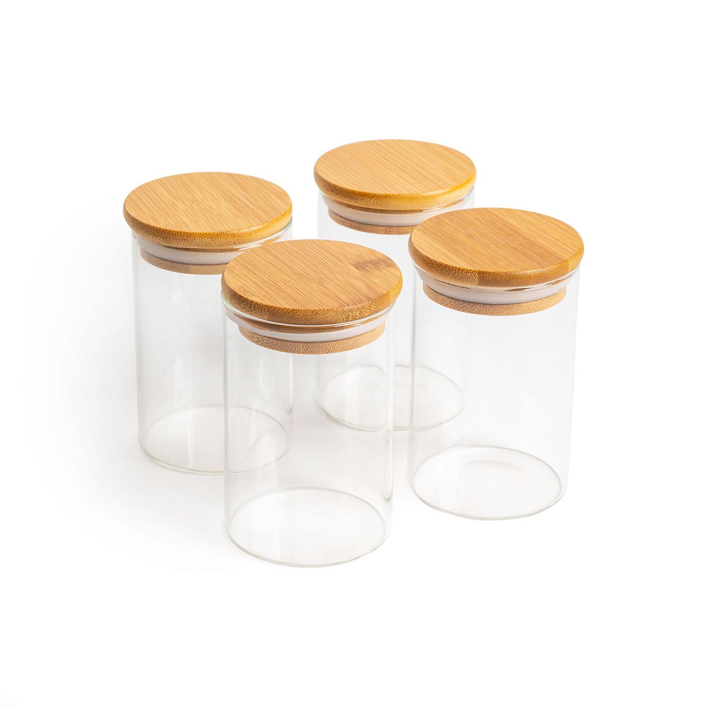 Aufbewahrungsglas, Modell: rund, Größe: 6,5x10cm, 300ml, 4er-Set