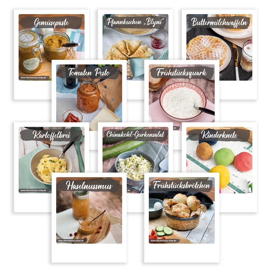 10x Rezeptkarten, Thema: Lieblingsrezepte Nr. 1 im Polaroid-Format inkl. Holz-Kartenständer