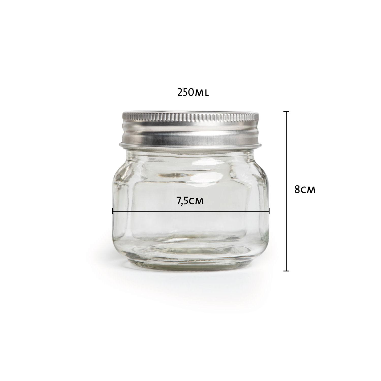 Overnight-Gläser mit Verschluss 250ml, 6er-Set